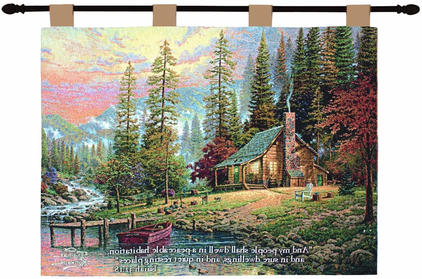 Blended Fabric Freedom Verse Tapestries And Wall Hangings For Trendy Manual Inspirational Collection 26 X 36 Inch Wall Hanging And Finial Rod, A Peaceful Retreat With Versethomas Kinkade (View 12 of 20)