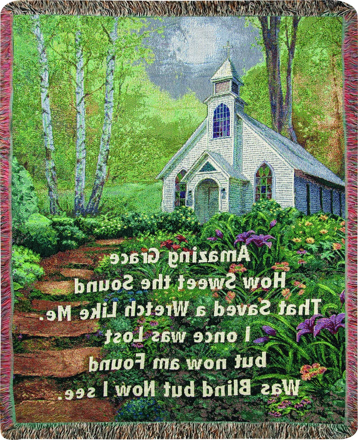 Blended Fabric Freedom Verse Tapestries And Wall Hangings Throughout Most Current Manual Woodworkers & Weavers Tapestry Throw, Amazing Grace, 50 X (View 3 of 20)
