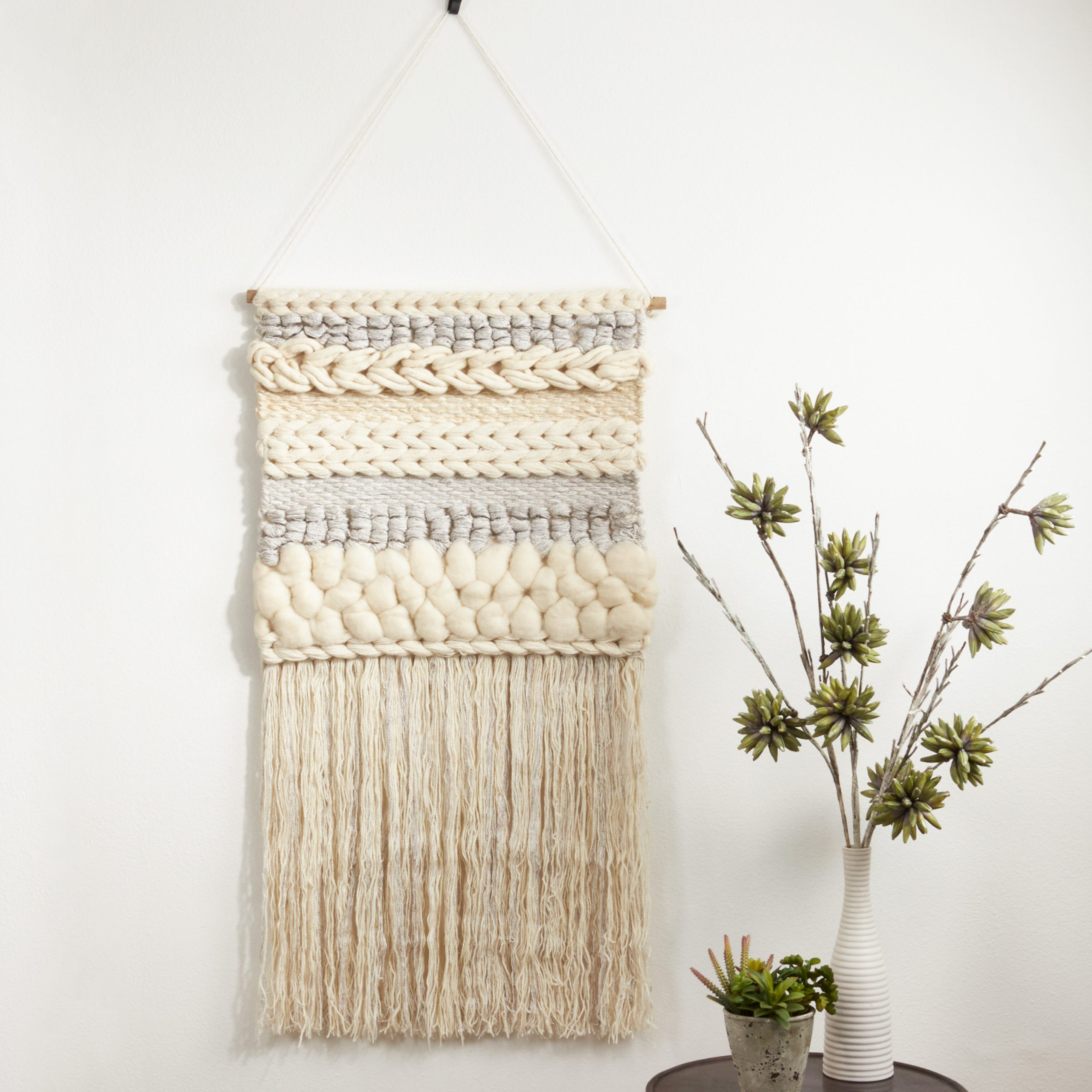 Blended Fabric Fringed Braided Design With Rod Included For 2020 Blended Fabric Wall Hangings With Rod Included (View 10 of 20)