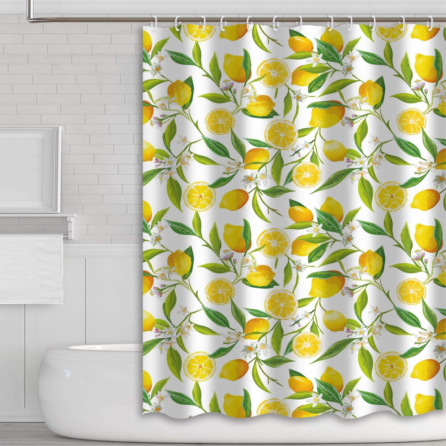 Blended Fabric Fruity Bouquets Wall Hangings Inside 2020 Tititex Yellow Lemon Shower Curtain Sets Fresh Fruit Waterproof Polyester Fabric 69 X 70 Inch Bathroom Decor With Hooks (View 18 of 20)