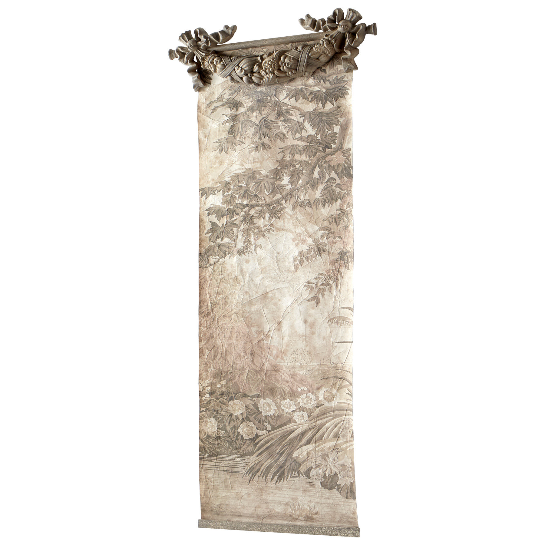 Blended Fabric Hidden Garden Chinoiserie Wall Hanging With Rod With Regard To Fashionable Blended Fabric Wall Hangings With Rod Included (View 12 of 20)