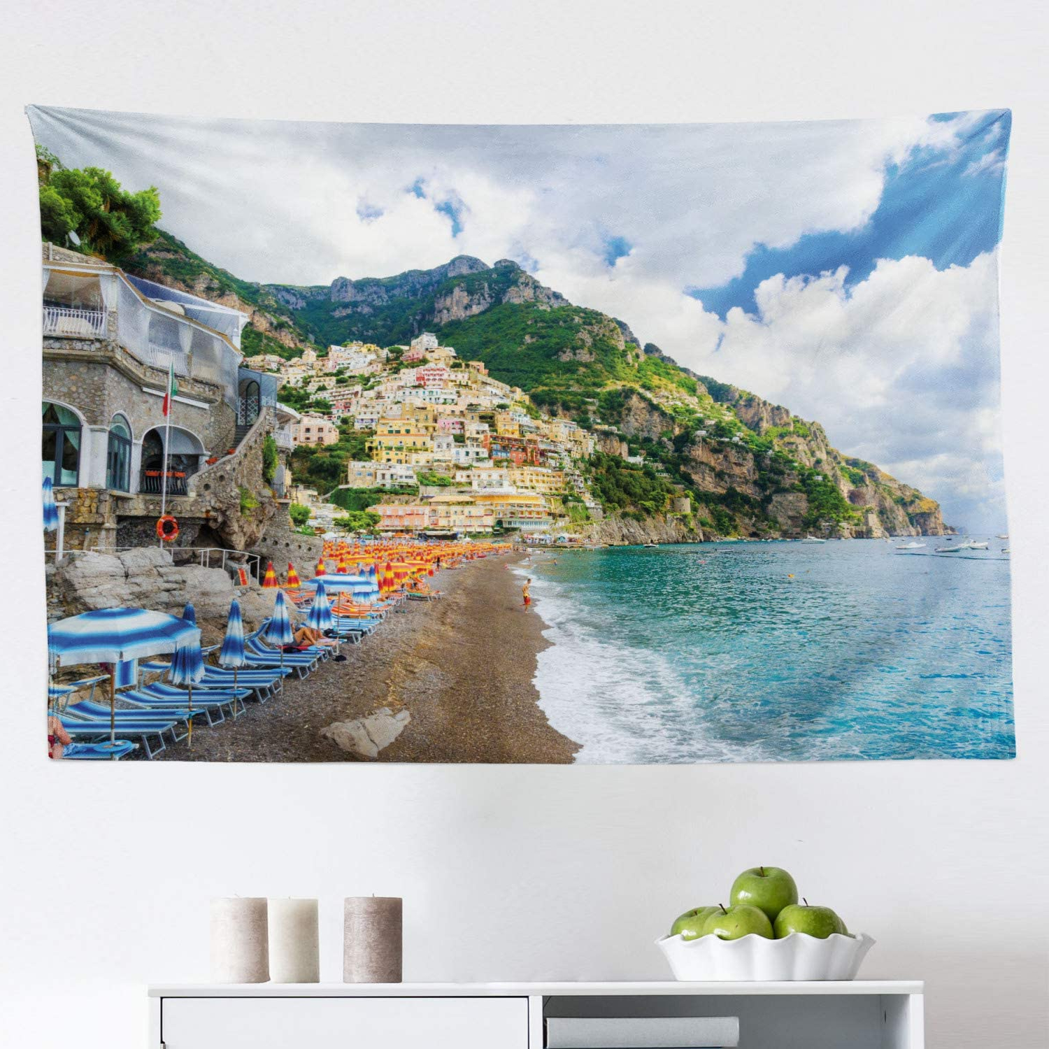 Blended Fabric Italian Wall Hangings Intended For Most Recently Released Amazon: Lunarable Amalfi Coast Tapestry, Sunbeds And (View 18 of 20)