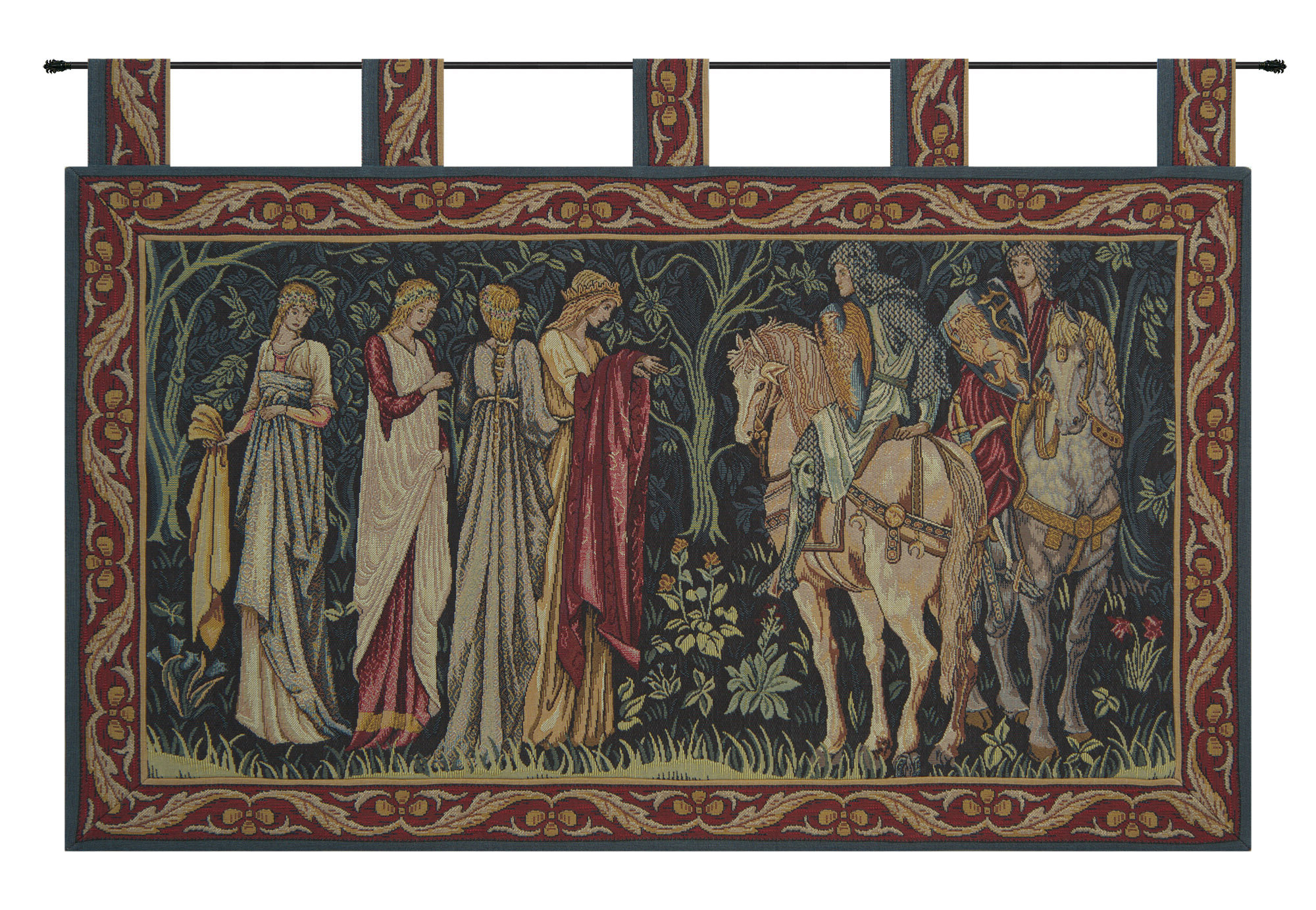 Blended Fabric Knight And Ladies Of Camelot With Loops Tapestry Intended For Well Known Blended Fabric In His Tapestries And Wall Hangings (View 4 of 20)