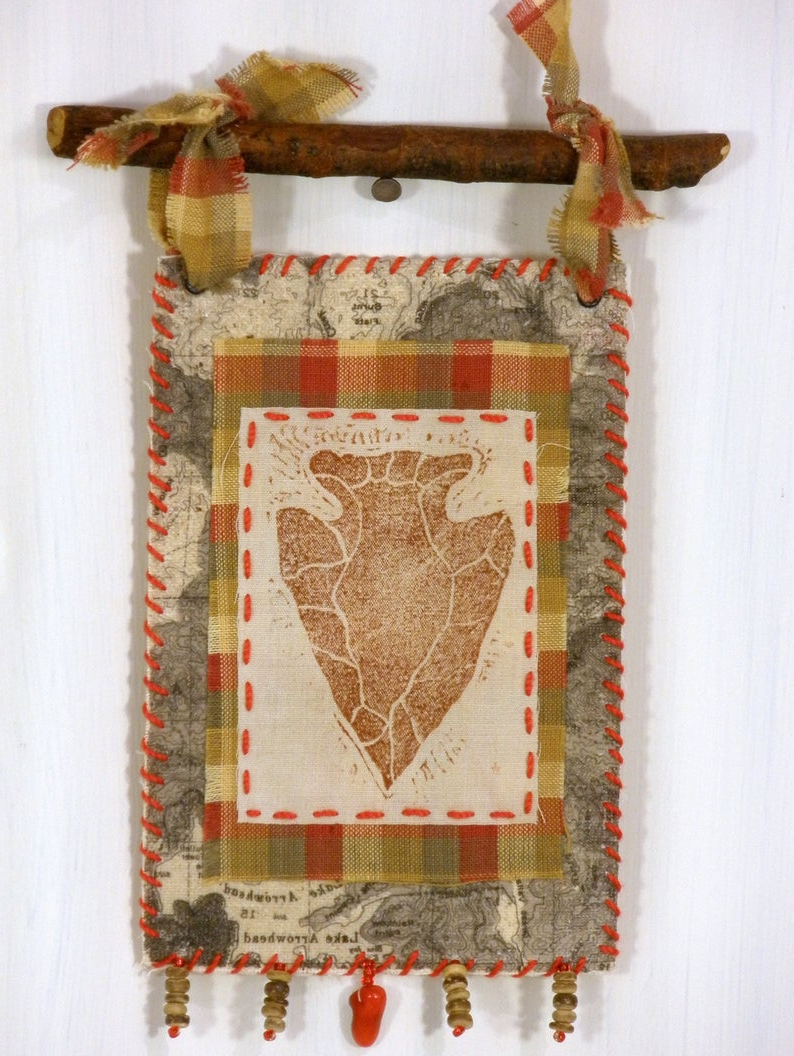 Blended Fabric Lago Di Como Ii Wall Hangings With Regard To Most Recent Rustic Arrowhead & Mountain Topo Map '56 Textile Wall (View 7 of 20)