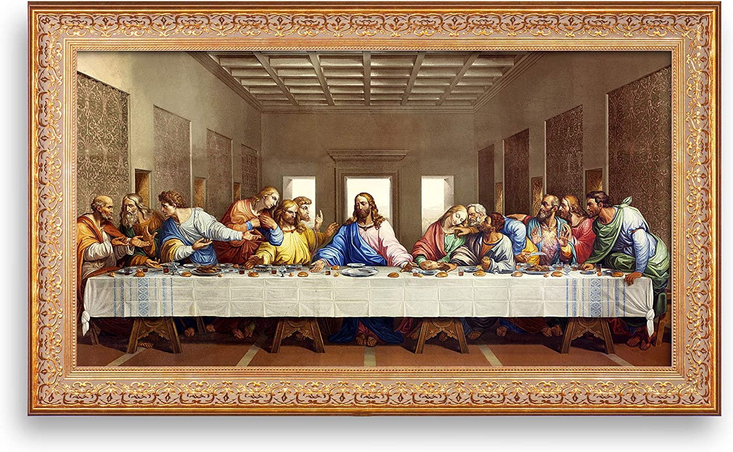 Blended Fabric Leonardo Davinci The Last Supper Wall Hangings Regarding Widely Used A&t Artwork The Last Supperleonardo Da Vinci The World Classic Art Reproductions, Giclee Prints Framed Wall Art For Home Decor, Image Size:30x (View 9 of 20)
