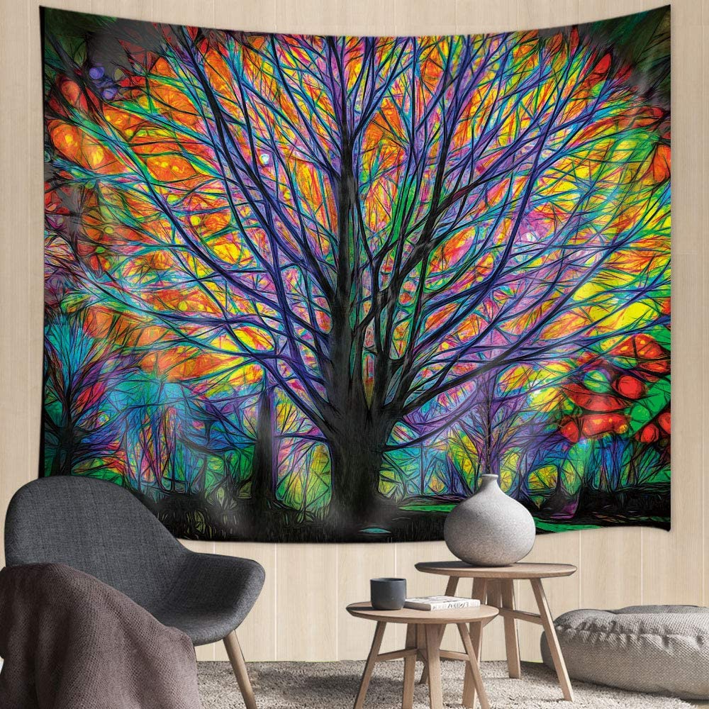 """Blended Fabric Living Life Tapestries In Best And Newest Colorful Tree Tapestry, 71"""" X60"""" In, Unique Tree Of Life Tapestry, Colorful Psychedelic Forest With Birds Wall Tapestry, Hippie Tapestry Wall Hanging (View 12 of 20)"""