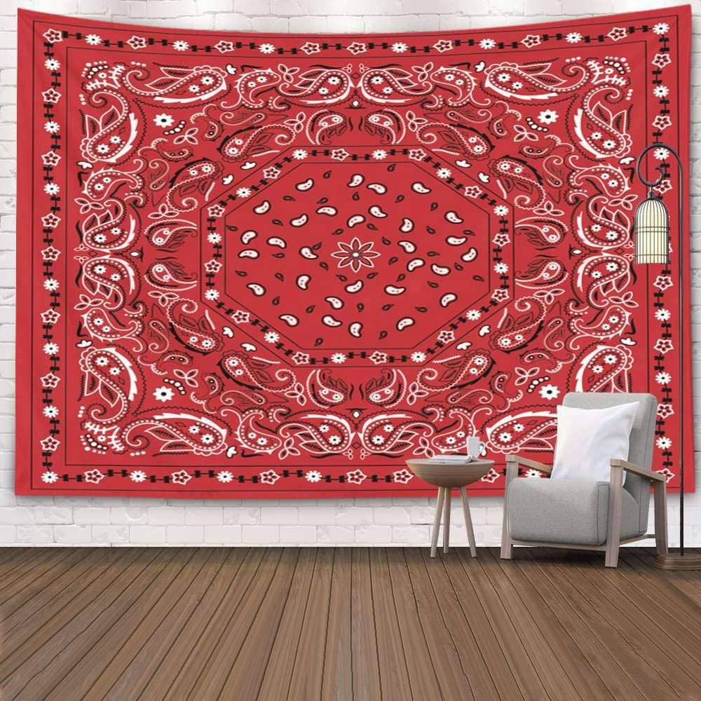Blended Fabric Living Life Tapestries Throughout Famous Pamime Home Décor Thanksgiving Tapestry, Red Bandana Print Wall Hanging Tapestries Living Room 60x60 Inches (View 4 of 20)