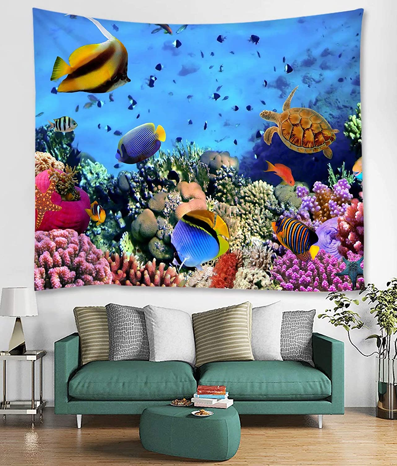 Blended Fabric Living Life Tapestries With Most Current Amazon: Shinesnow Tropical Blue Summer Ocean Sea Turle (View 17 of 20)