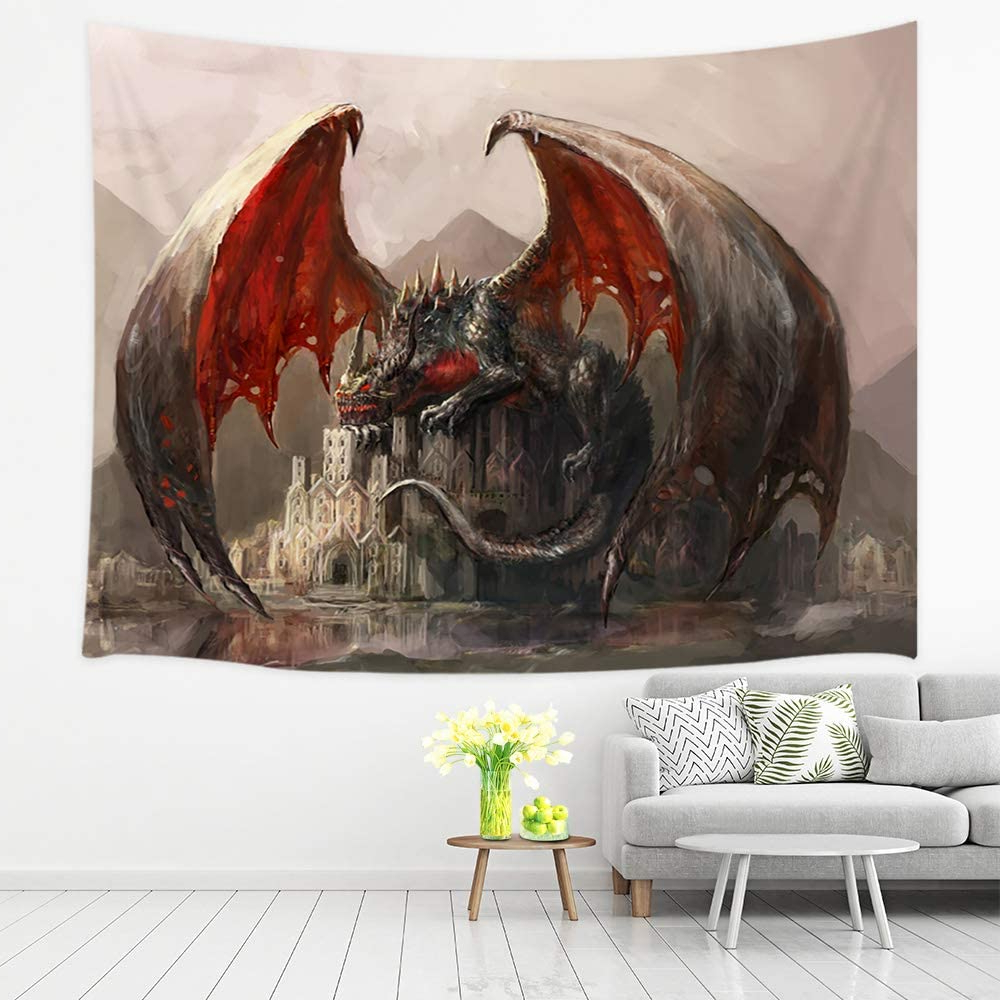 Blended Fabric Living Life Tapestries With Most Recently Released Jawo Fantasy Tapestry Wall Hanging, Dragon And Medieval Castle Gothic Theme Tapestries, Polyester Fabric Large Wall Tapestry For Home Living Room (View 20 of 20)
