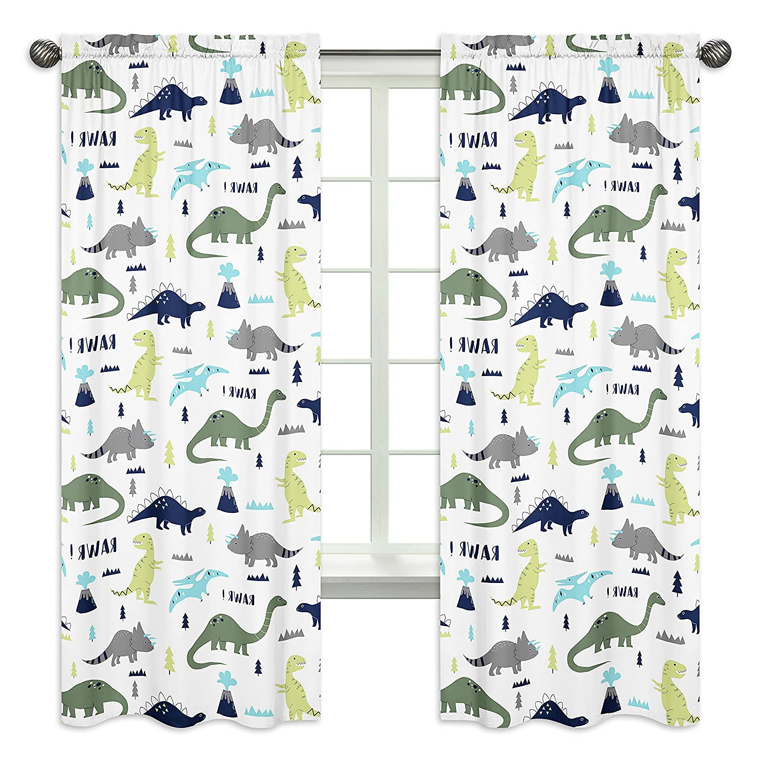 Blended Fabric Mod Dinosaur 3 Piece Wall Hangings Set For Well Liked Blue And Green Modern Dinosaur Bedroom Decor Window Treatment Panels – Set Of (View 2 of 20)
