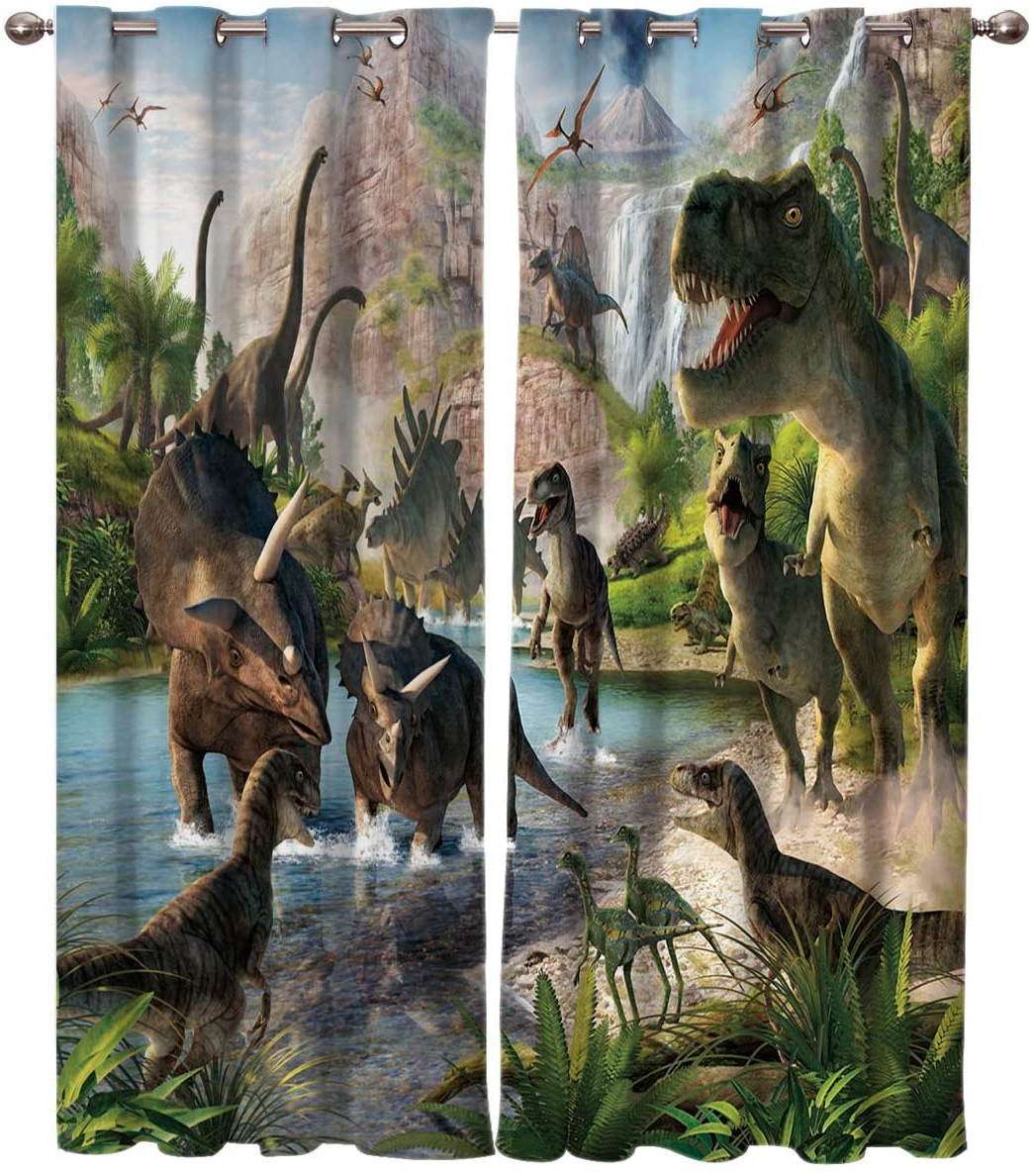 Blended Fabric Mod Dinosaur 3 Piece Wall Hangings Set Intended For Well Known Printed House Home Decor Window Curtains, Dinosaur Gathering At Mountain – 2 Panel Window Treatment Set With Grommet Window Drapes Covering For (View 14 of 20)