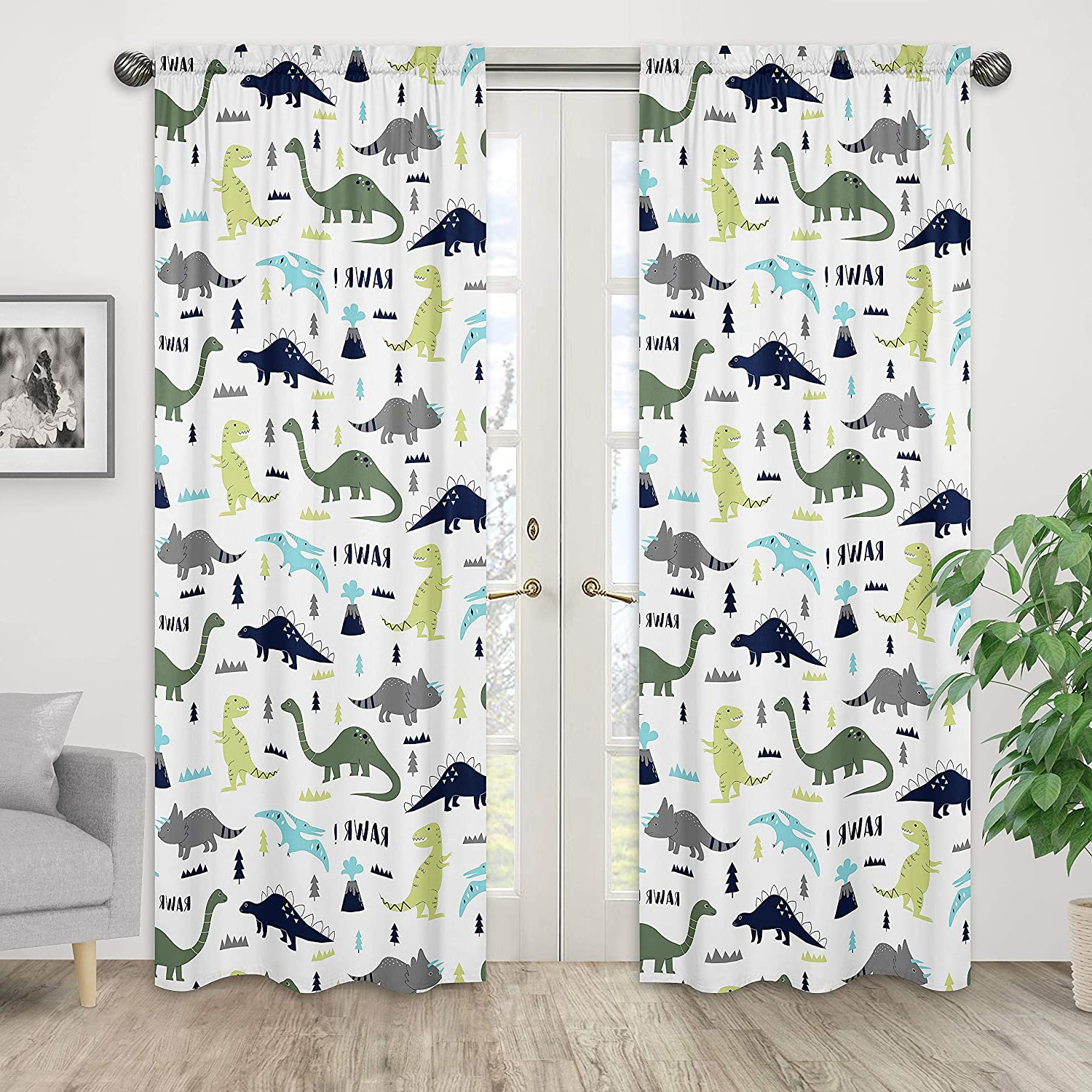 Blended Fabric Mod Dinosaur 3 Piece Wall Hangings Set Within Most Recently Released Blue And Green Modern Dinosaur Bedroom Decor Window Treatment Panels – Set Of (View 17 of 20)