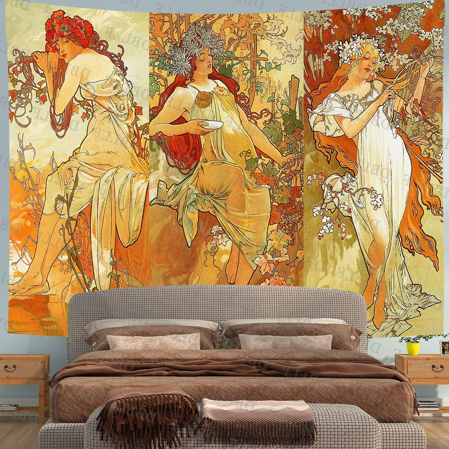 Blended Fabric Mucha Autumn European Wall Hangings For Popular Dbllf Art Nouveau Lady Tapestry Medieval Optimized Style Tapestry Artwork Wall Hanging Vintage Alphonse Mucha Autumn Paris Fall Nouveau Vineyard Flirt (View 10 of 20)