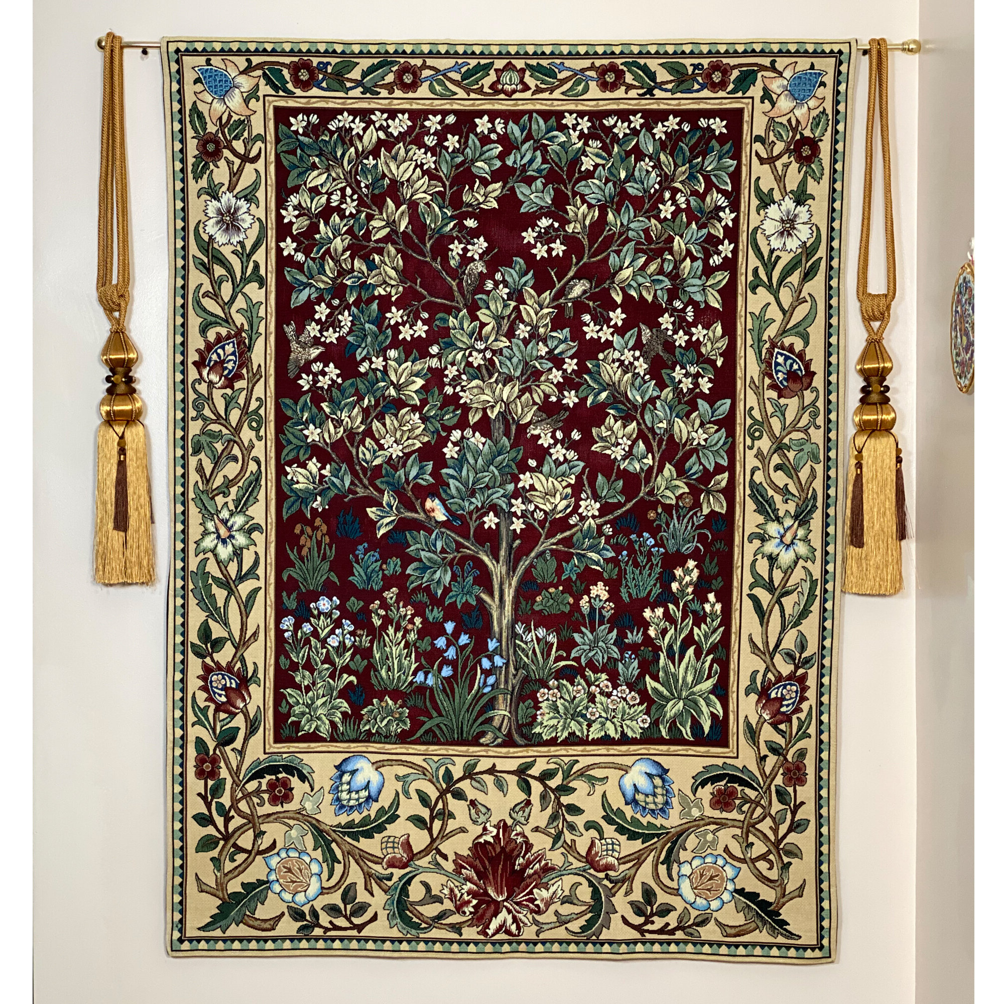 Blended Fabric Mucha Autumn European Wall Hangings With Regard To Well Known Cotton William Morris Tree Of Life Wall Hanging (View 18 of 20)