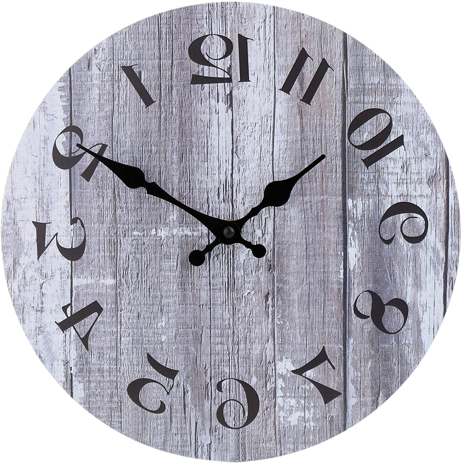 Blended Fabric Old Rugged Cross Wall Hangings Regarding Most Recently Released Silent Non Ticking Wooden Decorative Round Wall Clock Quality Quartz Battery Operated Wall Clocks Vintage Rustic Country Tuscan Style Gray Wooden Home (View 18 of 20)