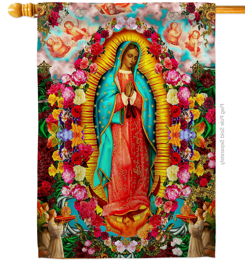 Blended Fabric Our Lady Of Guadalupe Wall Hangings Pertaining To Preferred Our Lady Of Guadalupe 2 Sided Polyester/polyester Blend 40 X 28 In (View 8 of 20)