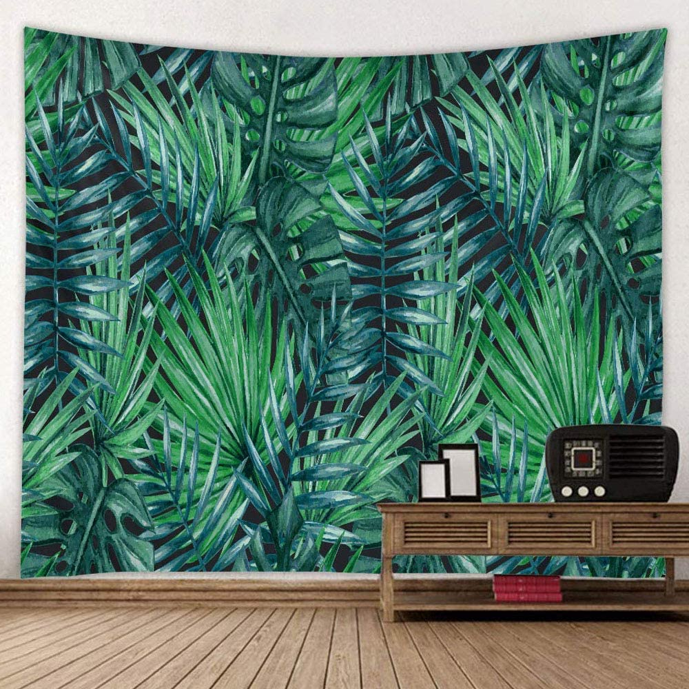 Blended Fabric Palm Tree Wall Hangings For 2019 Green Leaves Tapestry Wall Hanging, Summer Tropical Palm Banana Leaf Tapestry Plant Wall Art Fabric For Bedroom Dorm Living Room, 52 X (View 8 of 20)