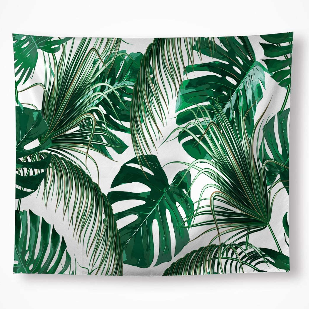 "Blended Fabric Palm Tree Wall Hangings In Fashionable Vakado Leaf Tapestry Wall Hanging Tropical Palm Tree Leaf Green Banana Leaves Wall Tapestry Living Room Bedroom Dorm Home Decor 59""x (View 9 of 20)"
