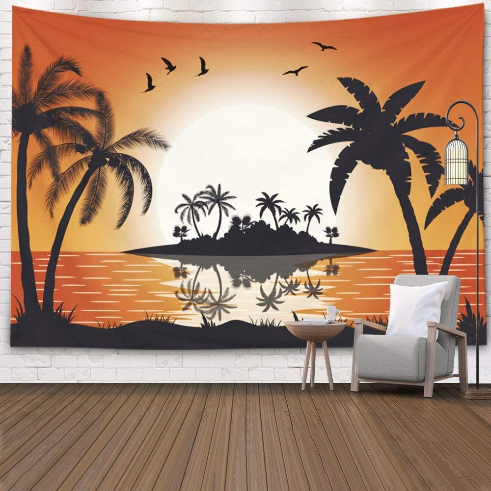 Blended Fabric Palm Tree Wall Hangings Pertaining To Trendy Pamime White Palm Tree Tapestry, Home Decor Tapestry Sunset Sea Hot Tropical Island Palm Trees Illustration Flat Design Dorm Bedroom Living Room 80x (View 2 of 20)