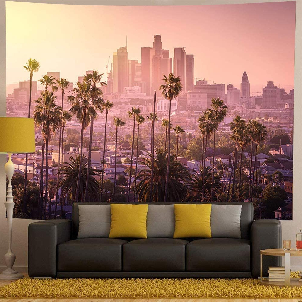 Blended Fabric Palm Tree Wall Hangings Throughout Well Liked Palm Tree Decor Tapestry Beautiful Sunset Of Los Angeles Downtown Skyline Modern City Wall Hanging Large Tapestry For Bedroom Living Room (View 15 of 20)