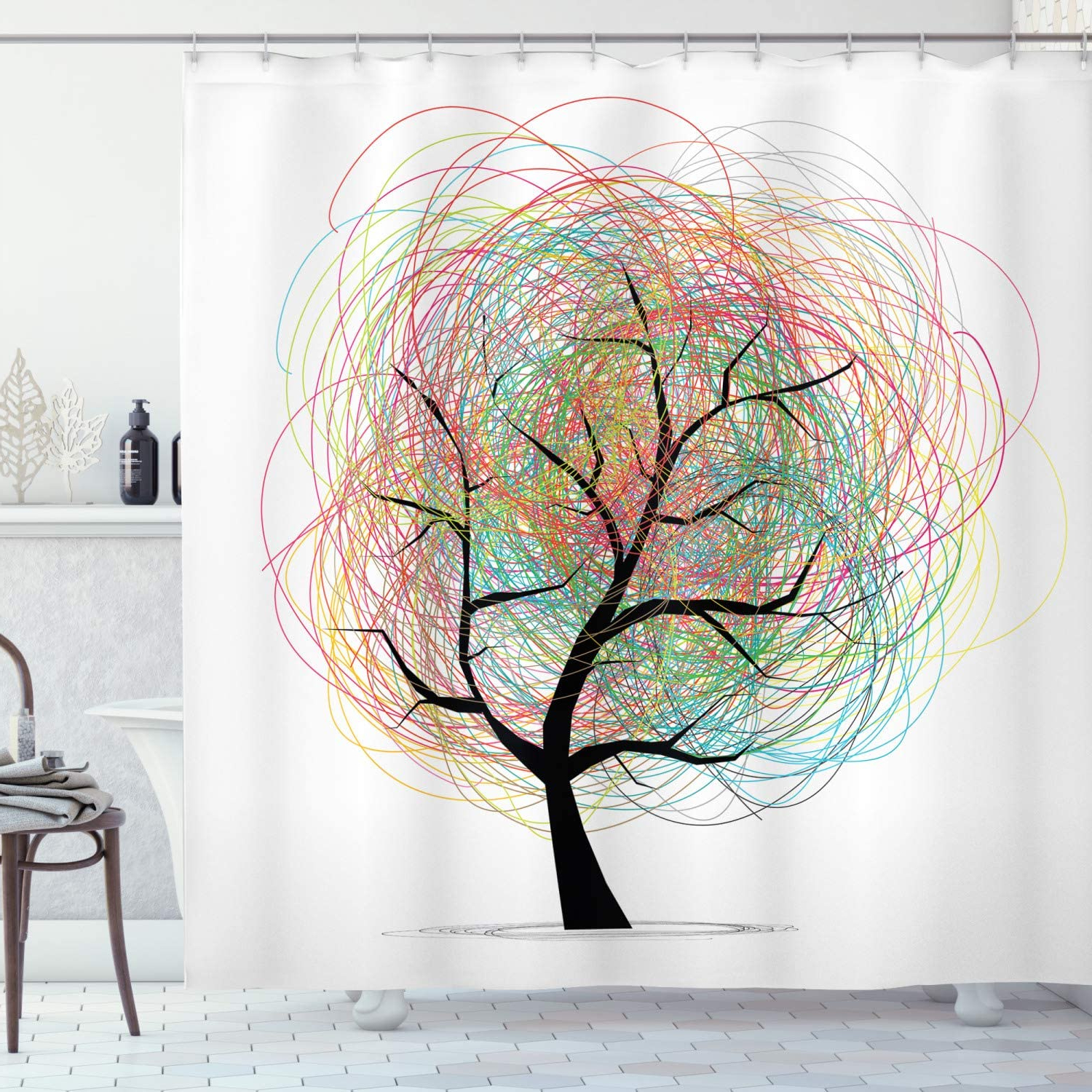 Blended Fabric Pastel Tree Of Life Wall Hangings With Best And Newest Ambesonne Tree Of Life Shower Curtain, Colorful Swirl Doodles Tree With Branches Funky Contemporary Illustration, Cloth Fabric Bathroom Decor Set With (View 7 of 20)