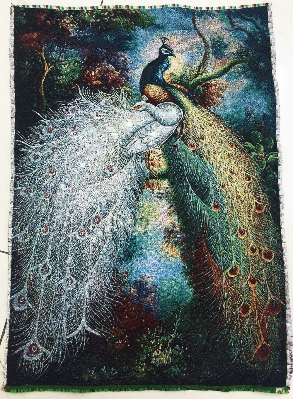 Blended Fabric Peacock European Tapestries With Well Known Free Shipping Hot Sales Middle Size Gobelin Tapestry, Beautiful Peacock Fabric Picture,wall Hanging Fabric Pictures (View 8 of 20)