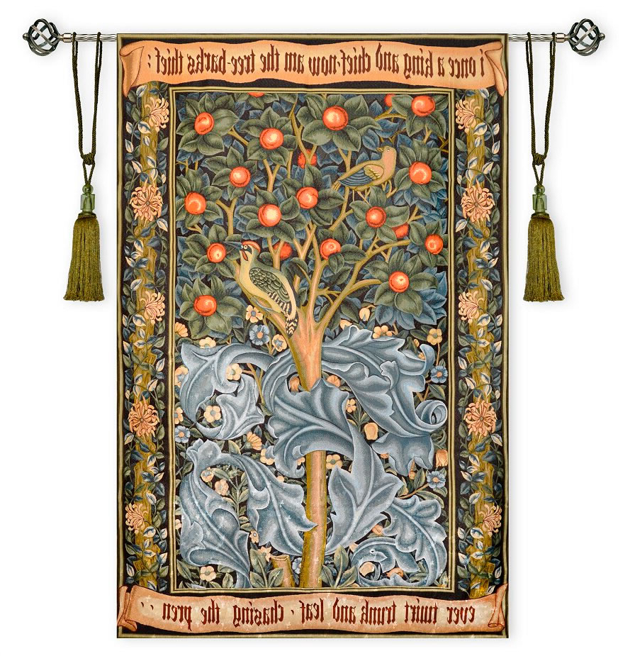 Blended Fabric Pheasant And Doe European Tapestries Wall Hangings Inside Latest Woodpecker Tree Bird William Morris Ornament Large Tapestry (View 17 of 20)