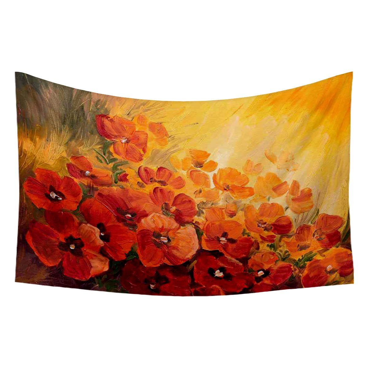 Blended Fabric Poppy Red Wall Hangings Throughout Favorite Buy Artzfolio Poppies On A Red Yellow Background Satin (View 11 of 20)