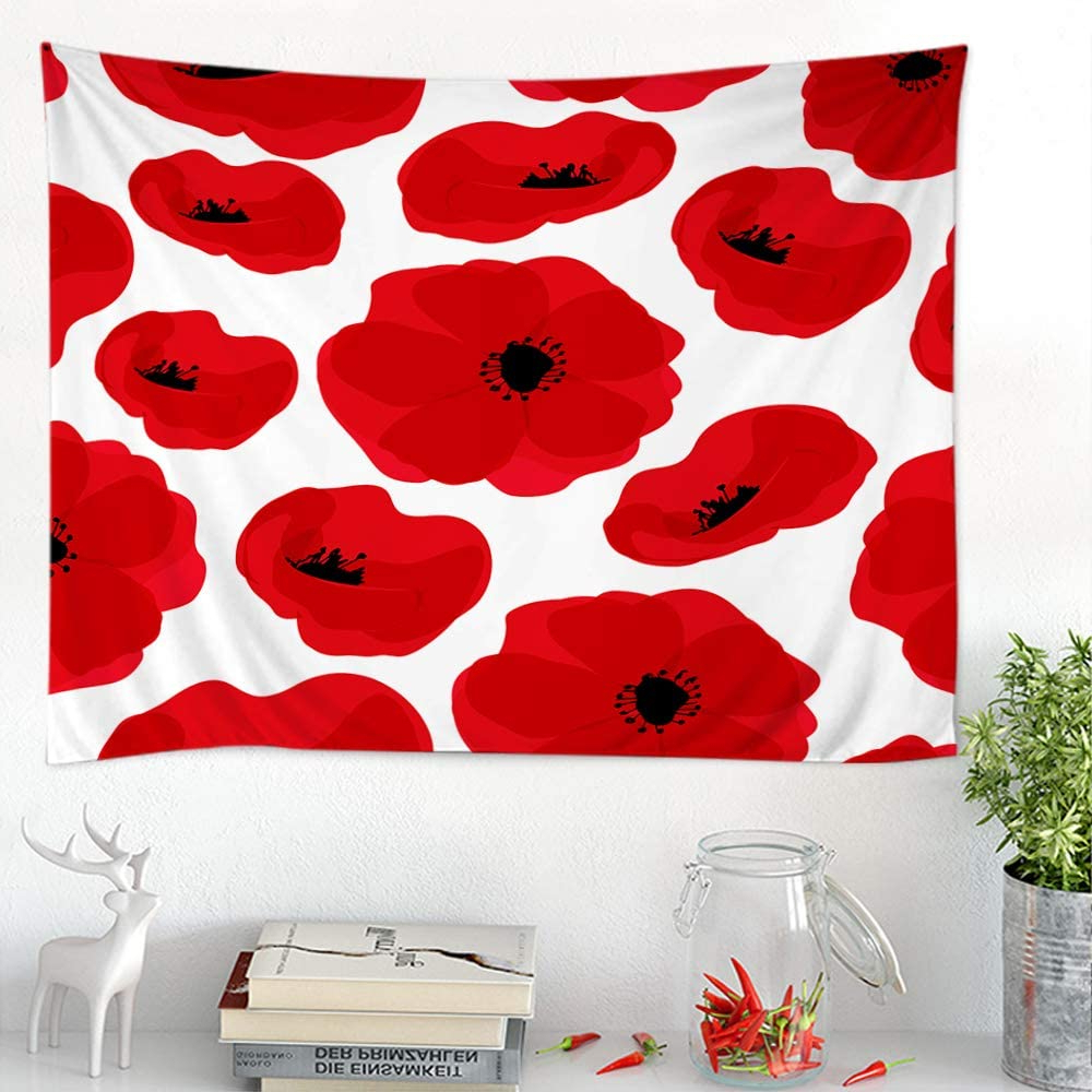 Blended Fabric Poppy Red Wall Hangings Within Well Known Amazon: Moslion Floral Tapestries Nature Red Poppy (View 3 of 20)