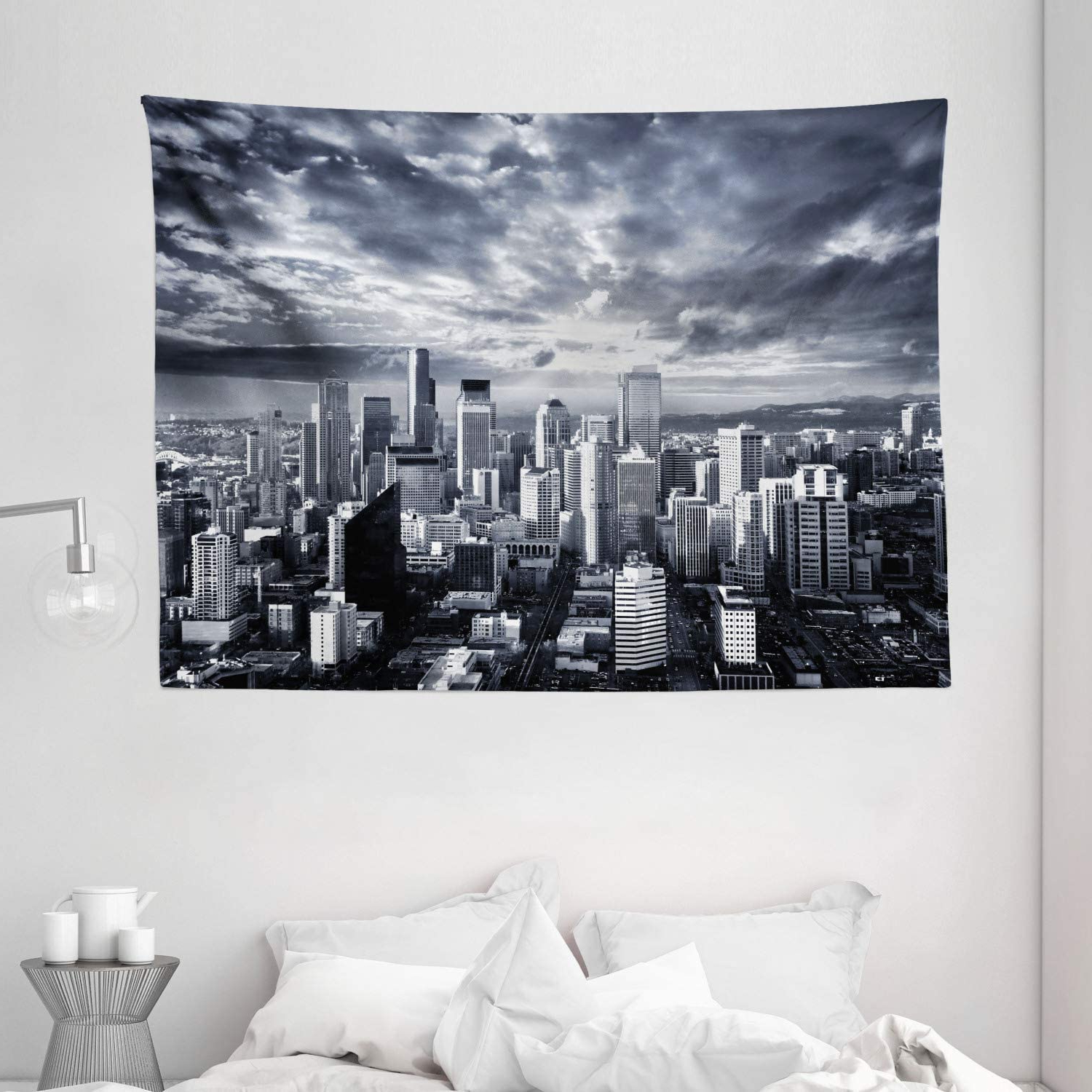 Blended Fabric Ranier Wall Hangings With Hanging Accessories Included Inside Favorite Ambesonne Wanderlust Tapestry, Seattle Cityscape Business Buildings Skylines Dark Clouds At Sunset Print, Wide Wall Hanging For Bedroom Living Room (View 19 of 20)