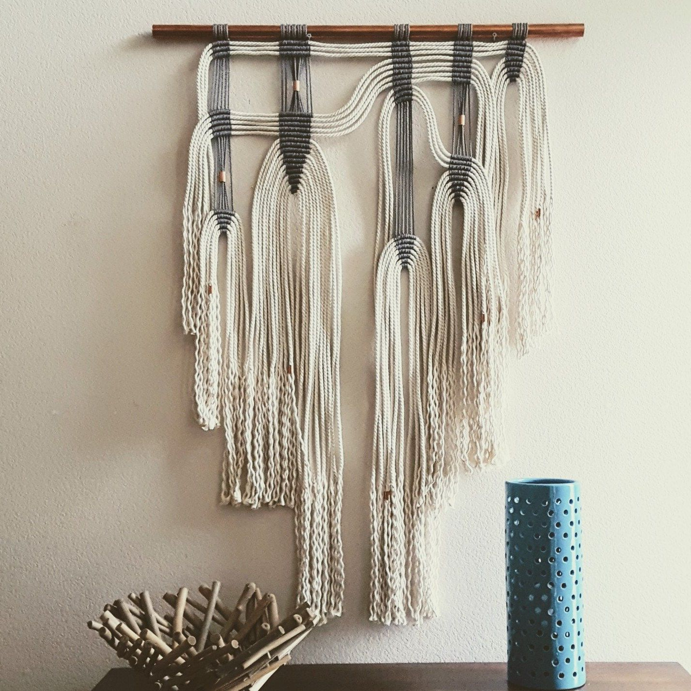 Blended Fabric Saber Wall Hangings With Rod With Preferred Modern Geometric Macrame Wall Hanging On Brass Ring (muriel (View 19 of 20)