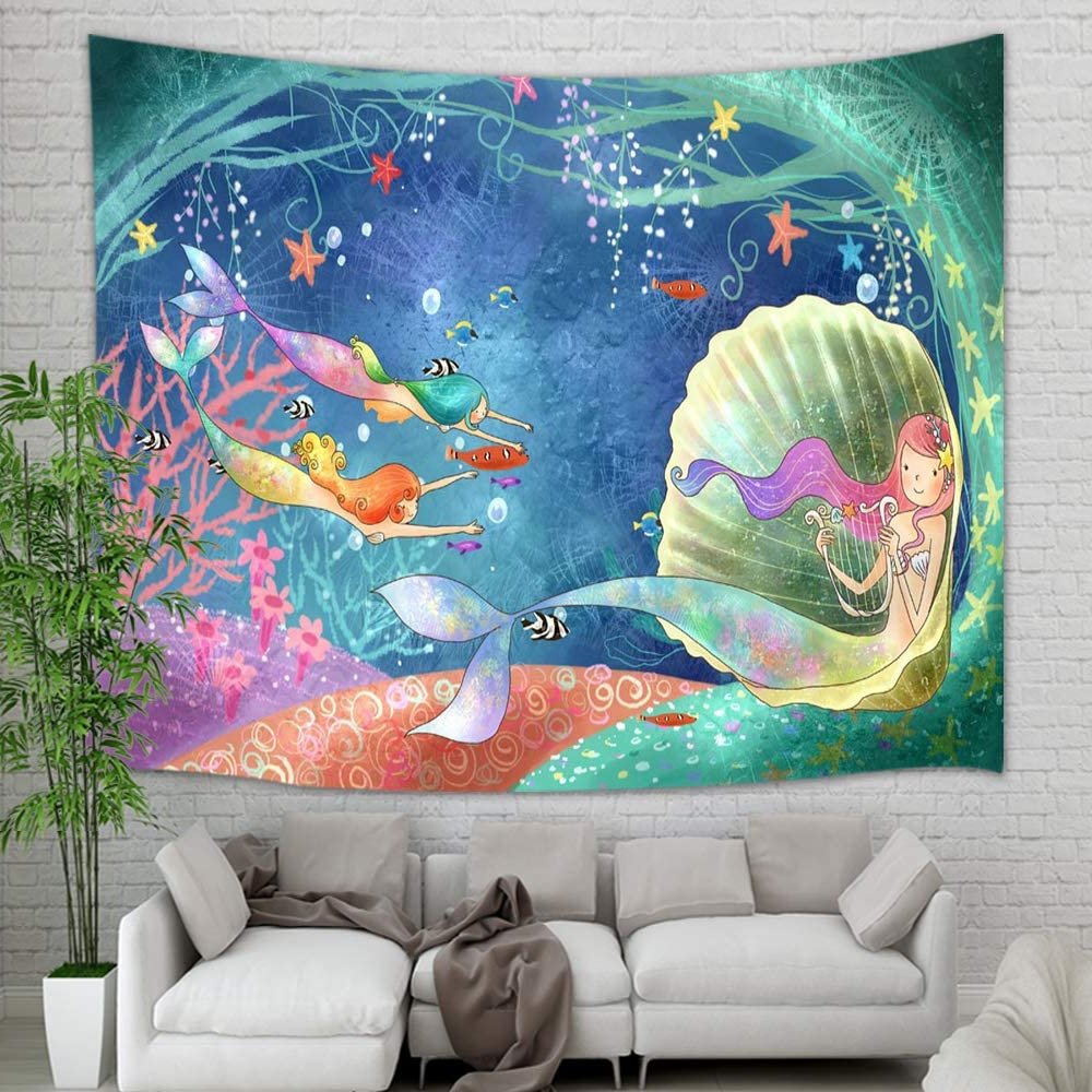 Blended Fabric Salty But Sweet Wall Hangings With Most Popular Amazon: Teen Girl Tapestry Wall Hanging, Underwater (View 19 of 20)
