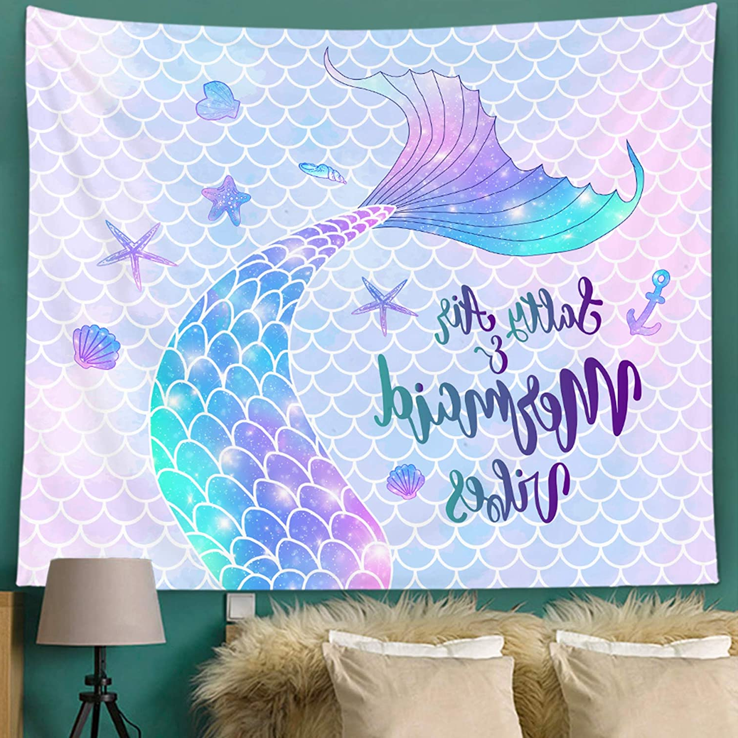 Blended Fabric Salty But Sweet Wall Hangings Within Recent Bonsai Tree Mermaid Tapestry, Mermaid Tail Scales Small Womens Tapestry Wall Hanging, Summer Beach Glitter Pink Purple Wall Tapestries For Bedroom (View 2 of 20)