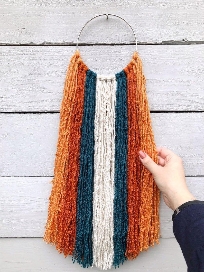 Blended Fabric Southwestern Bohemian Wall Hangings In Well Known Southwestern Burnt Orange And Teal Macrame Wall Hanging (View 5 of 20)