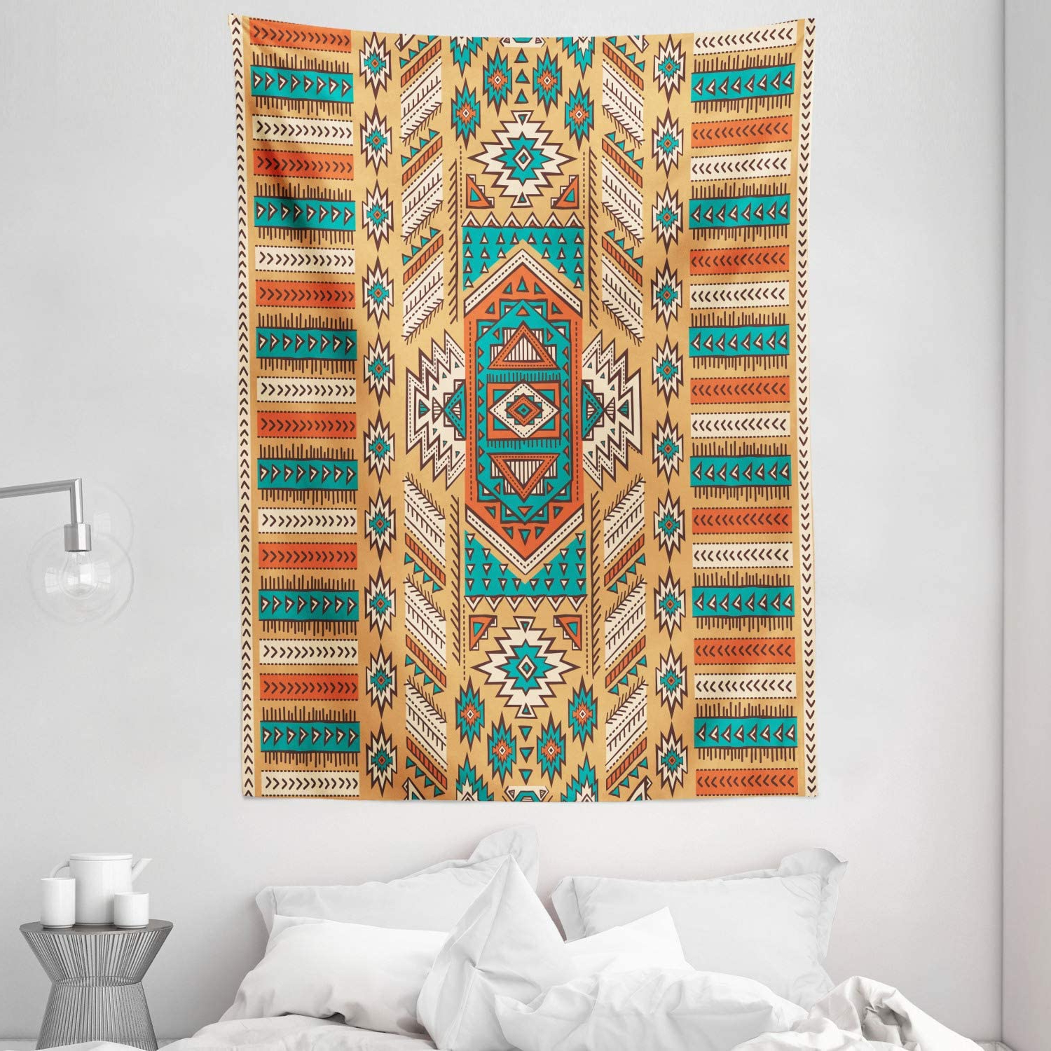 """Blended Fabric Southwestern Bohemian Wall Hangings With Regard To Newest Ambesonne Tribal Tapestry, Secret Tribe Pattern In Bohemian Style, Wall Hanging For Bedroom Living Room Dorm Decor, 40"""" X 60"""", Apricot Orange (View 20 of 20)"""