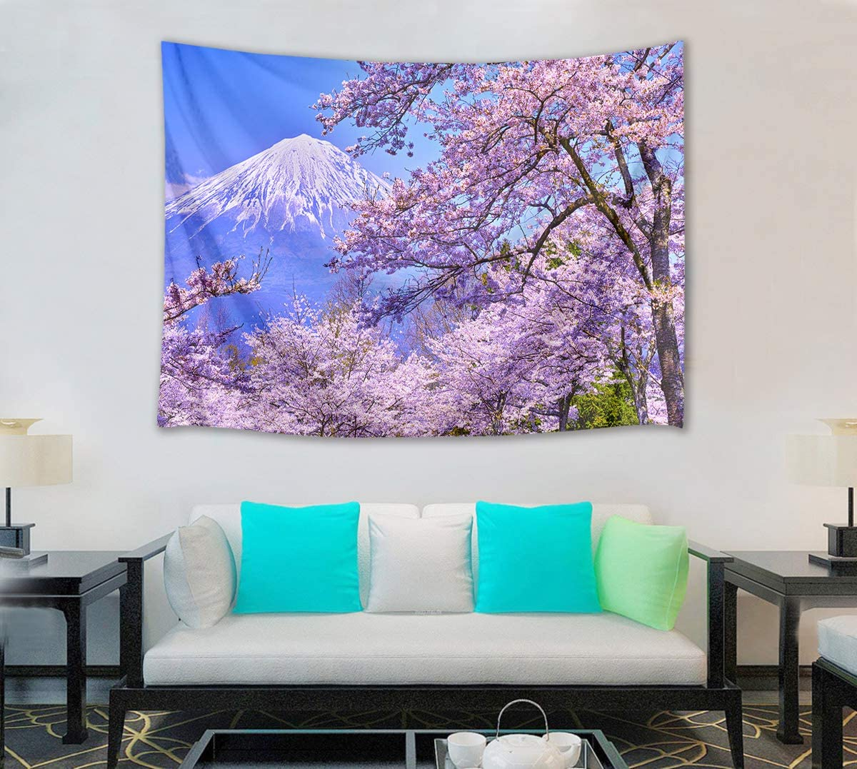 Blended Fabric Spring Blossom Tapestries For Current Hvest Cherry Blossom Tapestry Mount Fuji With Pink Sakura Flowers Wall Hanging Blanket Spring Scenery Tapestries For Bedroom Living Room Dorm (View 18 of 20)