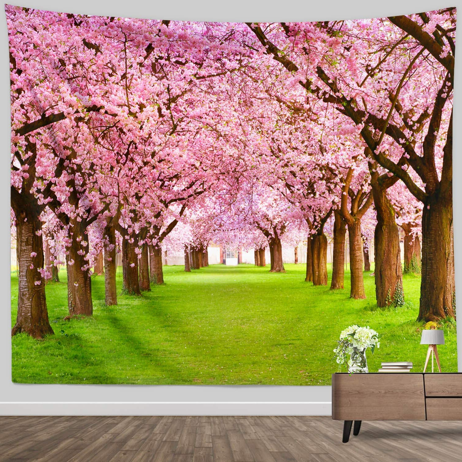 Blended Fabric Spring Blossom Tapestries Pertaining To Well Liked Flower Tree Decor Tapestry For Bedroom, Spring Asian Cherry Blossom Nature Scene Wall Tapestry Garden Landscape Wall Hanging For Bedroom Living Room (View 3 of 20)