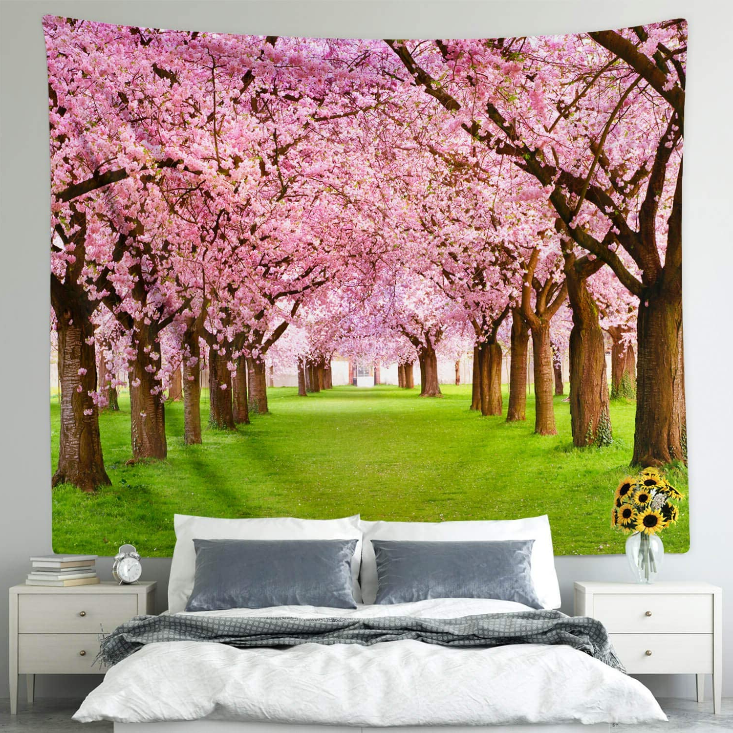 Blended Fabric Spring Blossom Tapestries Within Most Recent Flower Tree Decor Tapestry For Bedroom, Spring Asian Cherry Blossom Nature Scene Wall Tapestry Garden Landscape Wall Hanging For Bedroom Living Room (View 5 of 20)