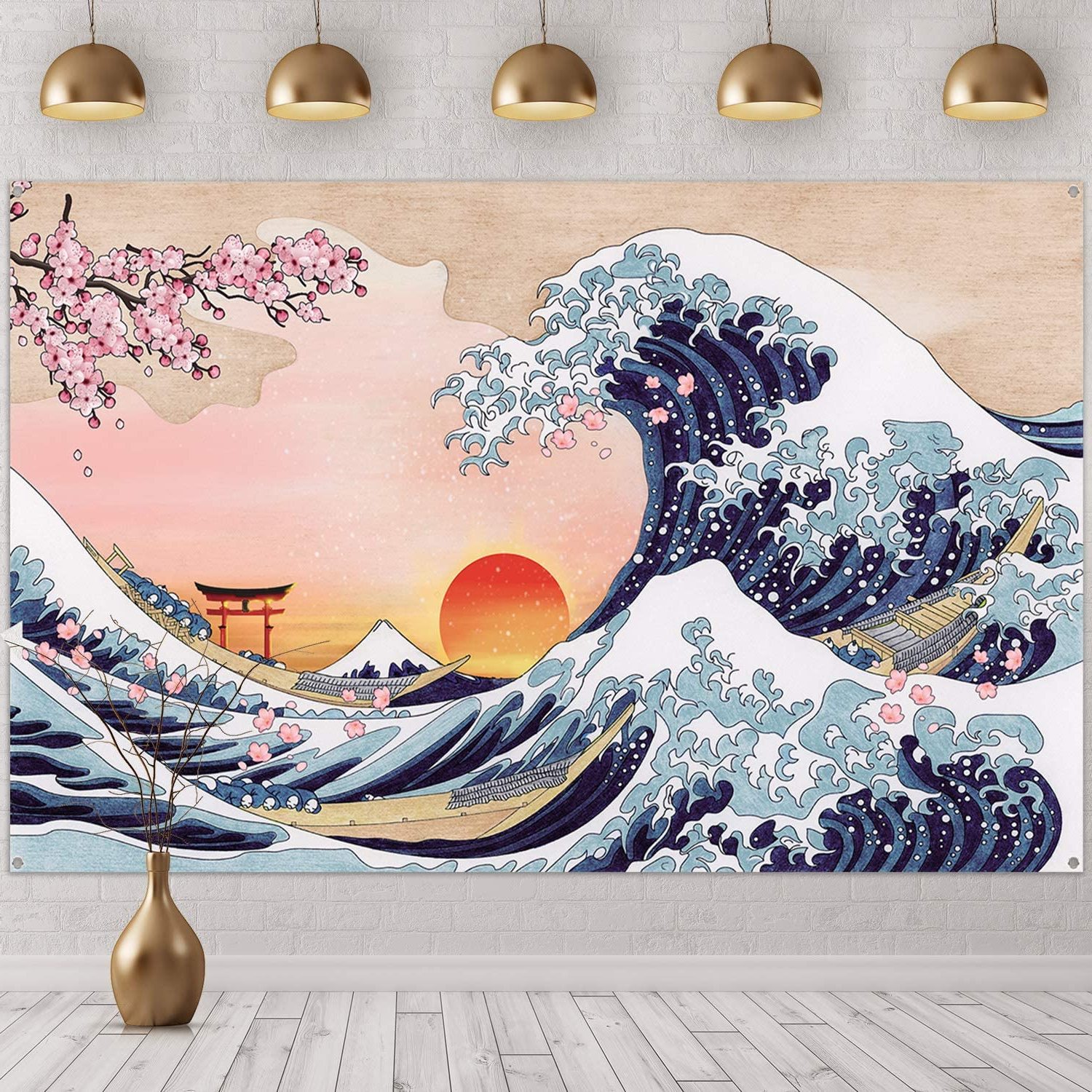 Blended Fabric Spring Party Wall Hangings Inside Latest Great Wave Wall Hanging Ocean Wave Photo Banner Japanese Kanagawa Backdrop Sunset Cherry Blossom Art Nature Background For Japanese Party Wall Home (View 10 of 20)
