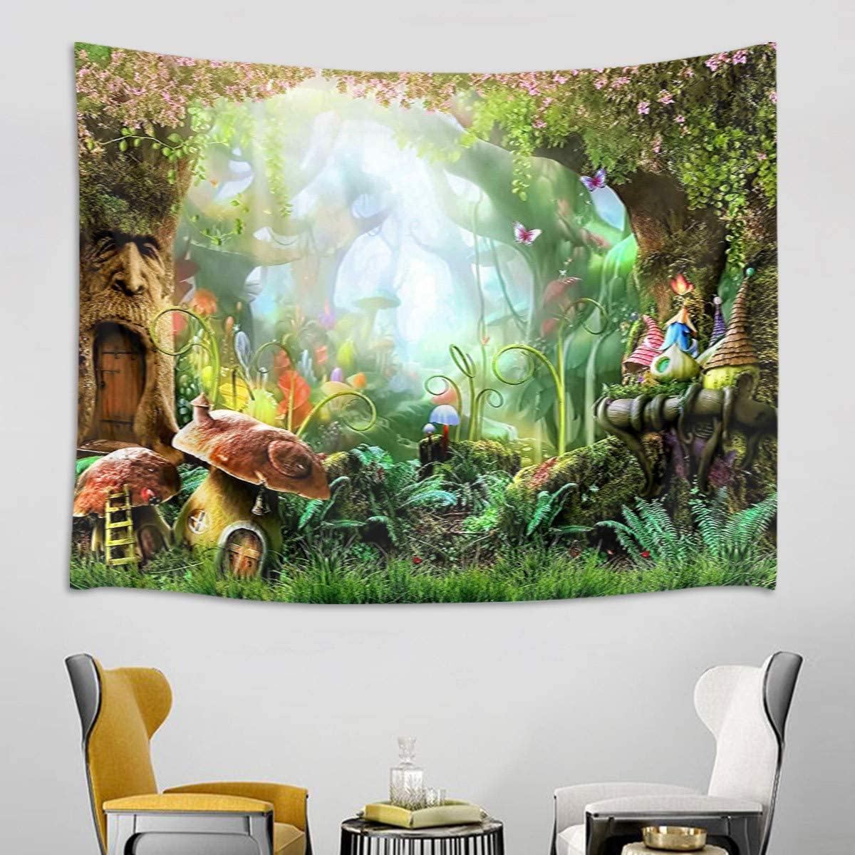 Blended Fabric Spring Party Wall Hangings With Most Popular Hvest Fairy Tale Forest Tapestry Wall Hanging Magic Mushroom And Trees Wall Tapestry Spring Scenery Tapestry For Kids Girls Bedroom Living Room Dorm (View 12 of 20)