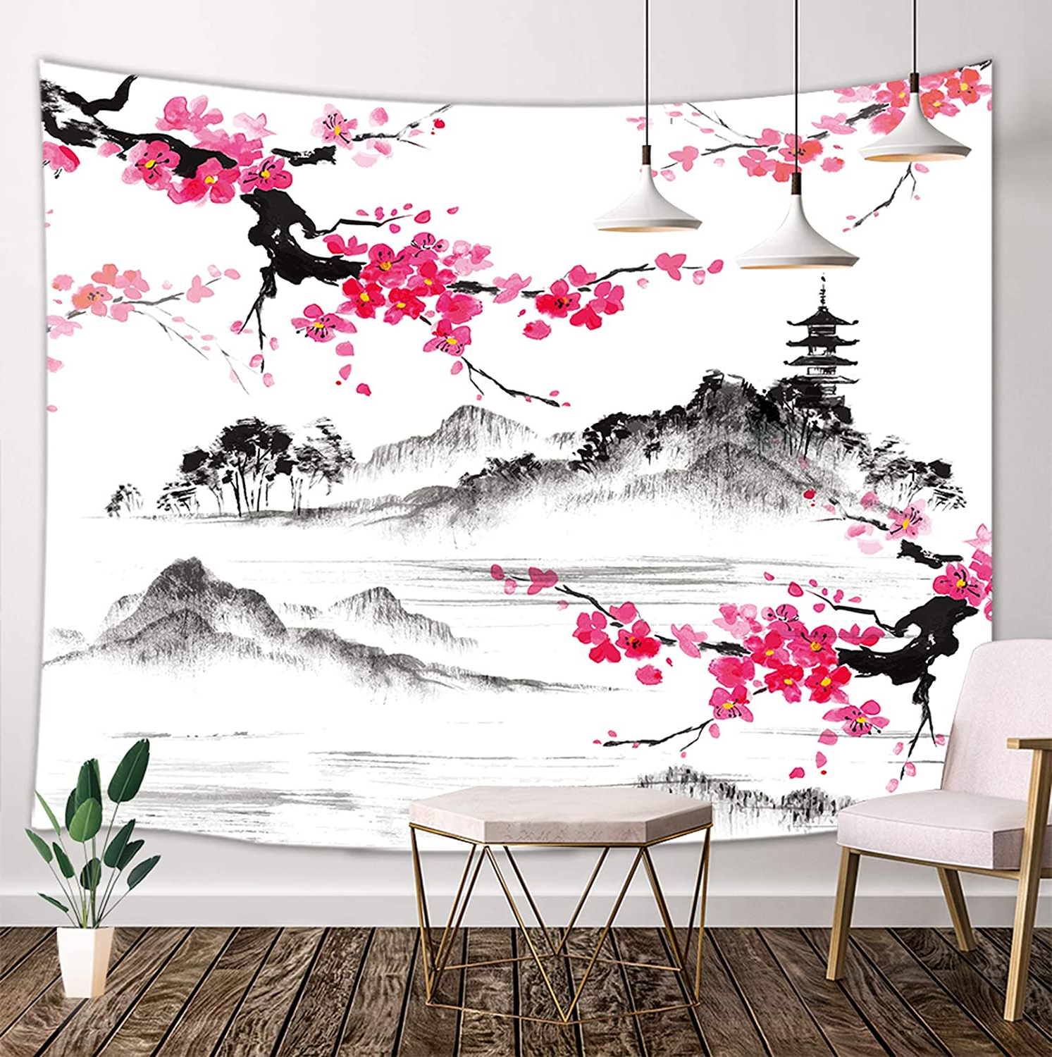 Blended Fabric Spring Party Wall Hangings With Well Liked Japanese Tapestry, Asian Anime Mount Fuji With Cherry Blossoms Sakura Flower Tapestry Wall Hanging For Living Room Bedroom Dorm Decor, Black And White (View 9 of 20)