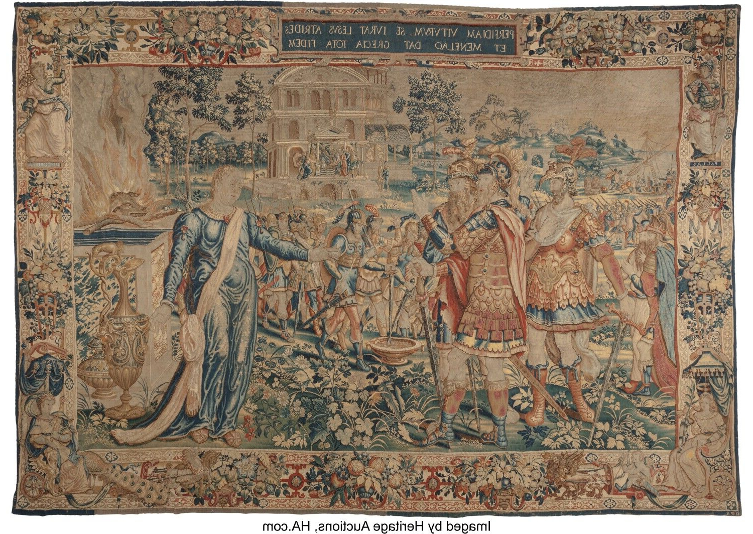 Blended Fabric The Pomona Wall Hangings Throughout Popular A Brussels Historical Tapestry From A Series Of The Trojan (View 14 of 20)