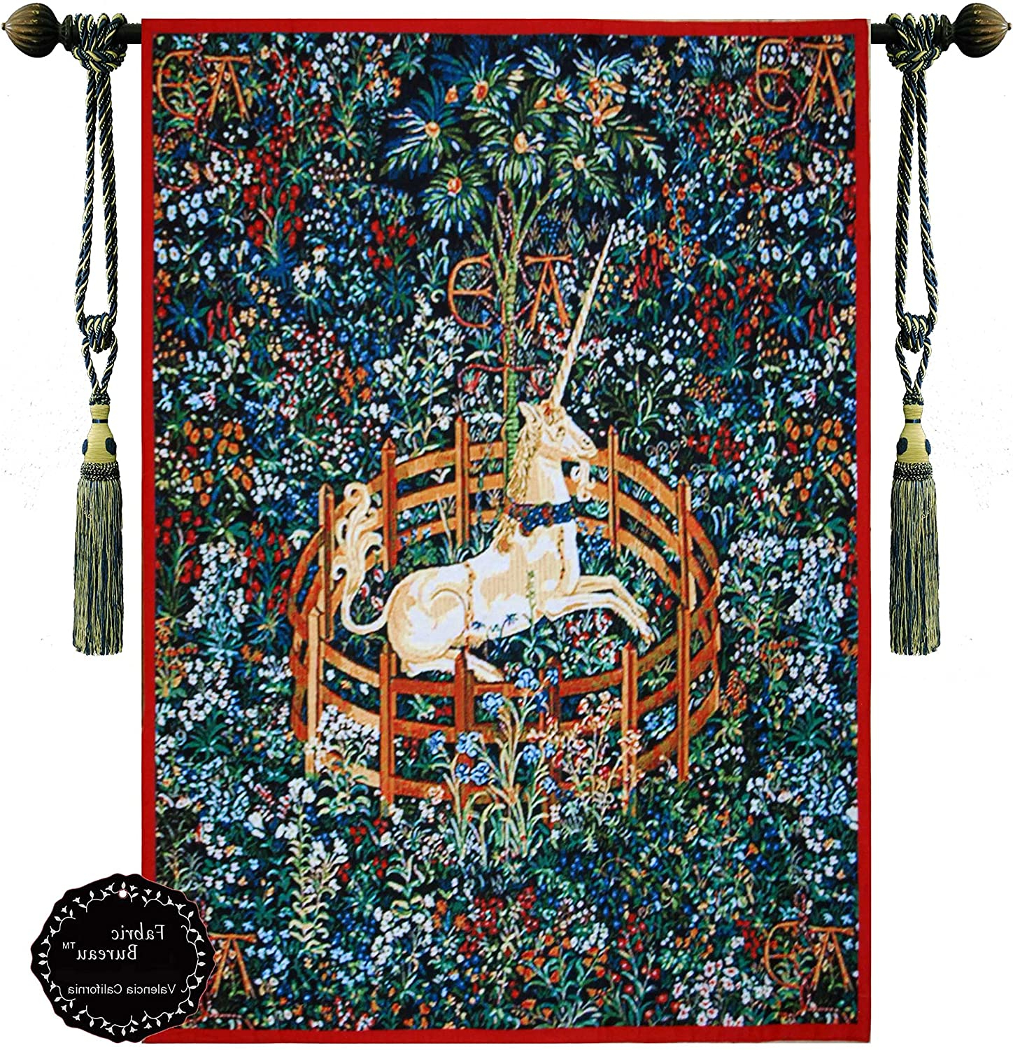 Blended Fabric Unicorn Captive And Unicorn Hunt Wall Hangings In Widely Used Decor Plus Unicorn In Captivity One Of The Series Of Seven Tapestries The Hunt Of The Unicorn Jacquard Woven Wall Hanging Tapestry (yw007) (red, (View 2 of 20)