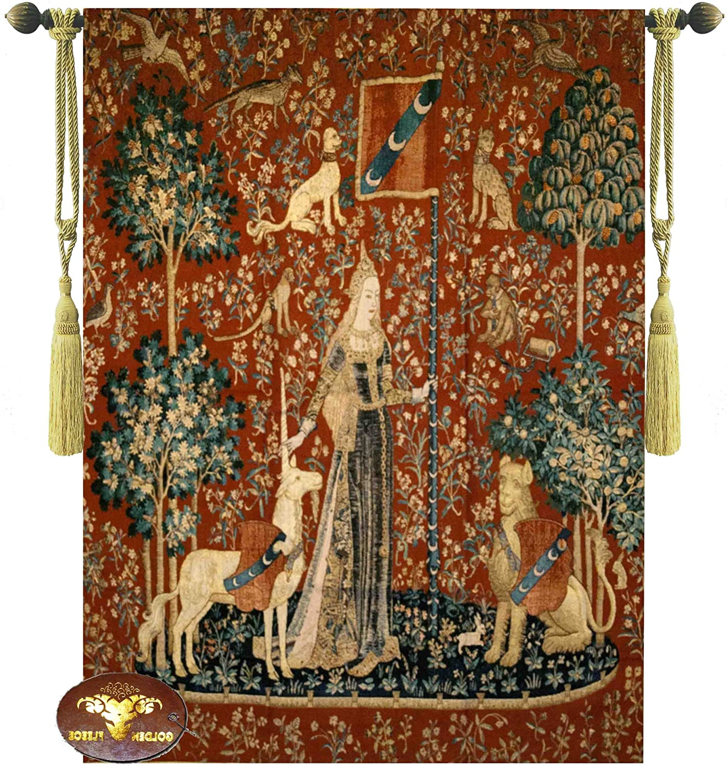 """Blended Fabric Unicorn Captive And Unicorn Hunt Wall Hangings Inside Famous Beautiful The Lady And The Unicorn Touch 41""""x54"""" Fine Tapestry Jacquard Woven Wall Hanging Art Decor (View 5 of 20)"""