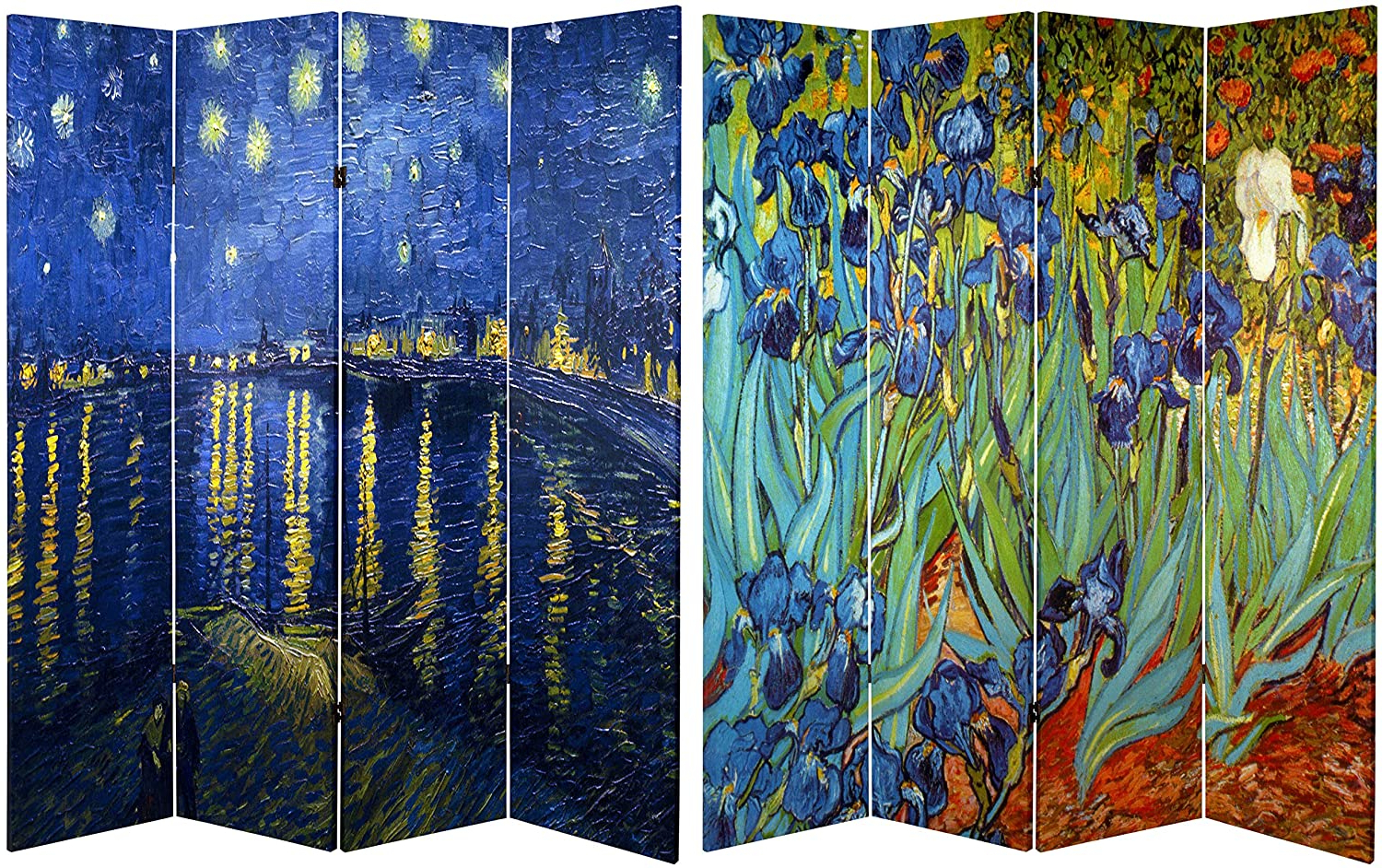 Blended Fabric Van Gogh Starry Night Over The Rhone Wall Hangings Inside Preferred Oriental Furniture Classic Impressionist Extra Large Wall Art Prints, 6 Feet Van Gogh Canvas Room Divider, Irises/starry Night, Rhone (View 16 of 20)