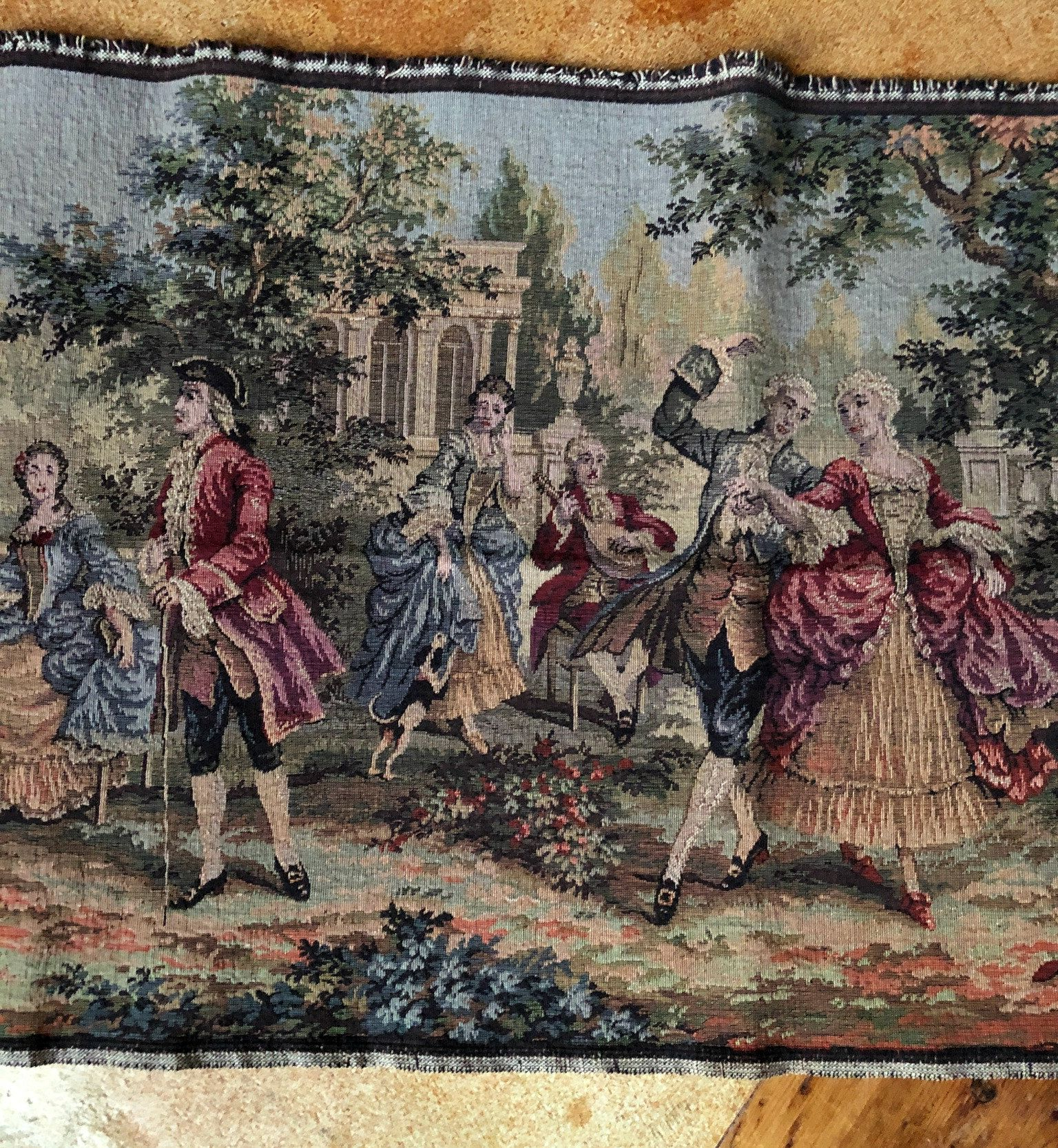 Blended Fabric Vendanges (red) Wall Hangings With Most Popular Antique Belgium Tapestry French Colonial Scene Romantic (View 8 of 20)