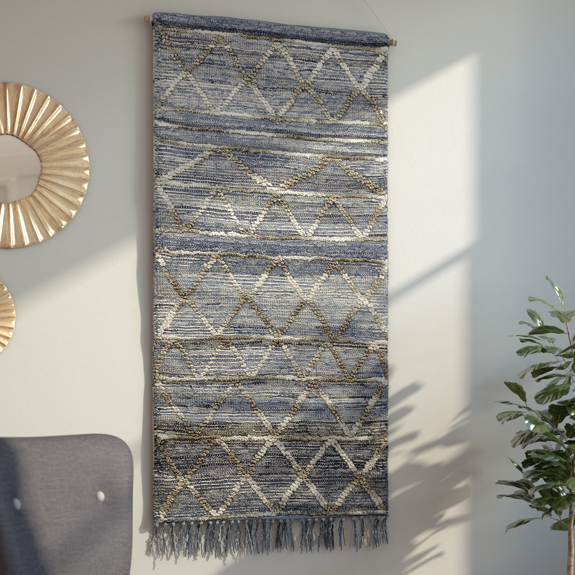 Blended Fabric Wall Hanging With Hanging Accessories Pertaining To Newest Blended Fabric Wall Hangings (View 2 of 20)