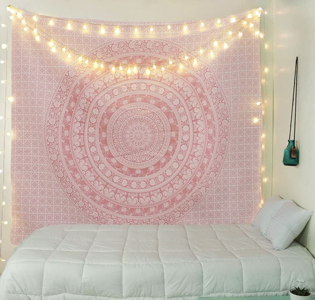 Blended Fabric Wall Hangings With Hanging Accessories Included Intended For Current Tapestry Wall Tapestry Wall Hanging Tapestries Sparkly Pink Rose Gold Ombre Mandala Tapestry Large Indian Mandala Wall Hanging Bohemian Hippie (View 14 of 20)