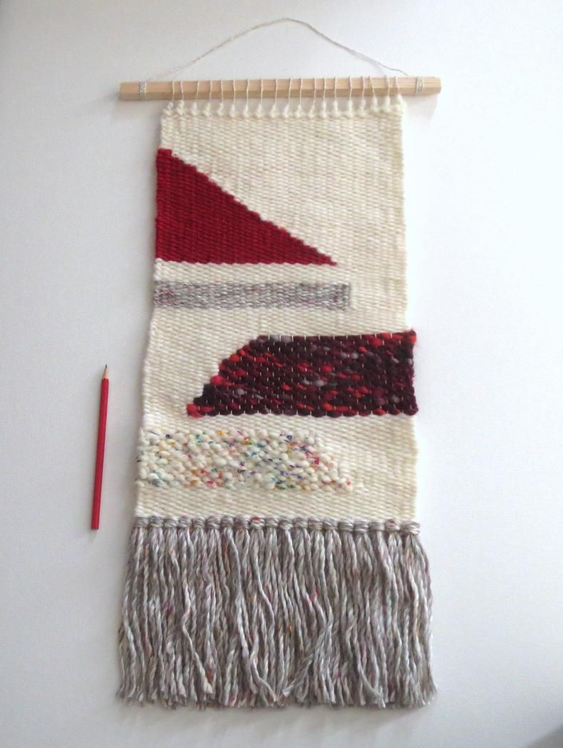 Blended Fabric Wall Hangings Within Preferred Woven Wall Hanging Geometric Tapestry Wool Blend Bright (View 20 of 20)