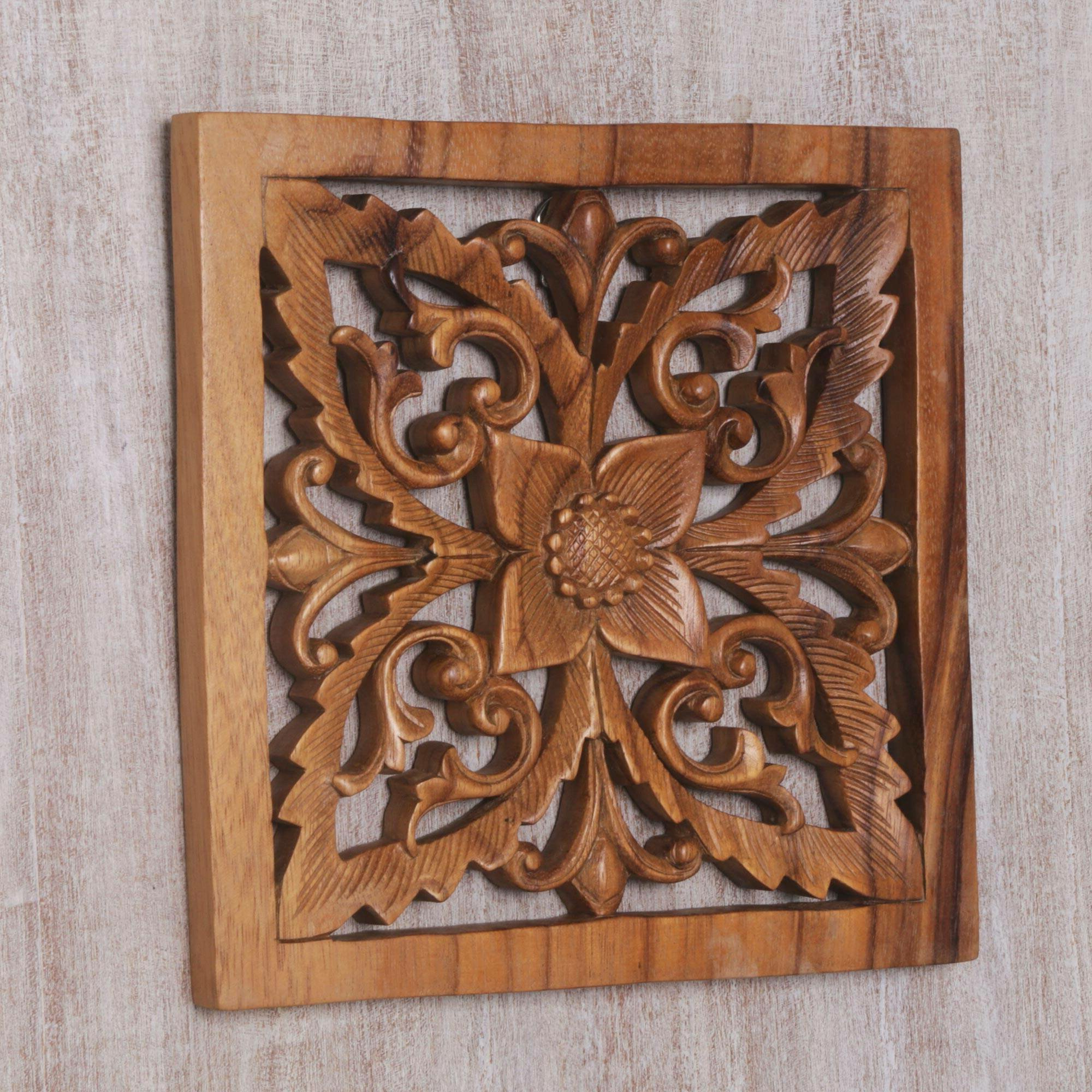 Blooming Temple Wood Relief Panel Wall Décor In Recent Brown Panel Wall Décor By World Menagerie (View 2 of 20)